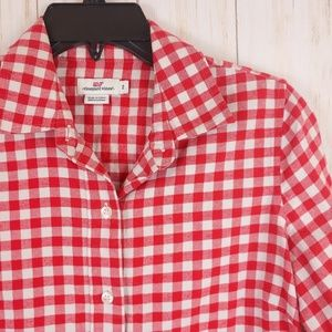VINEYARD VINES Flannel Red White Gingham Size 2